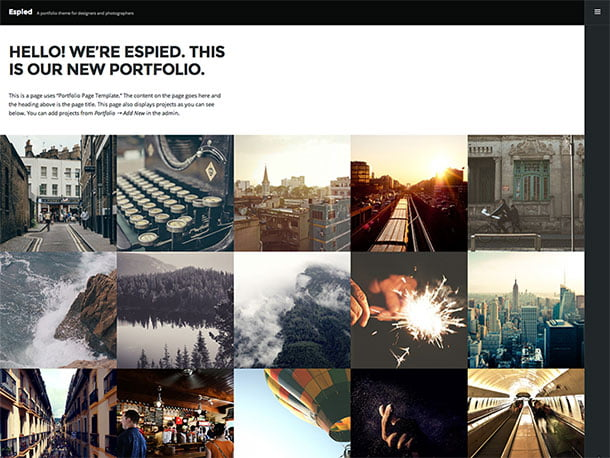 Espied - 51+ Nice Free WordPress Themes For Photography [year]