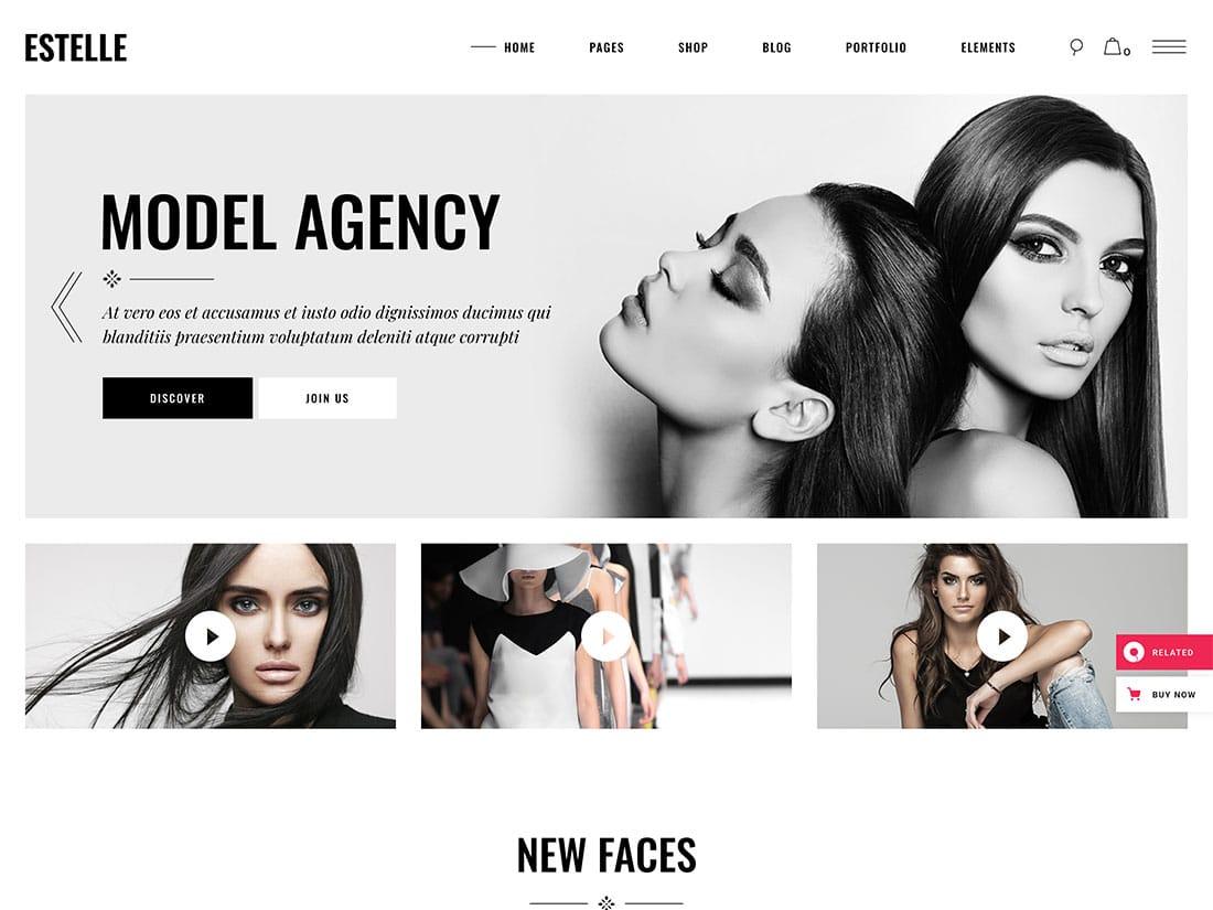 Estelle - 36+ Nice WordPress Model Agency Themes [year]