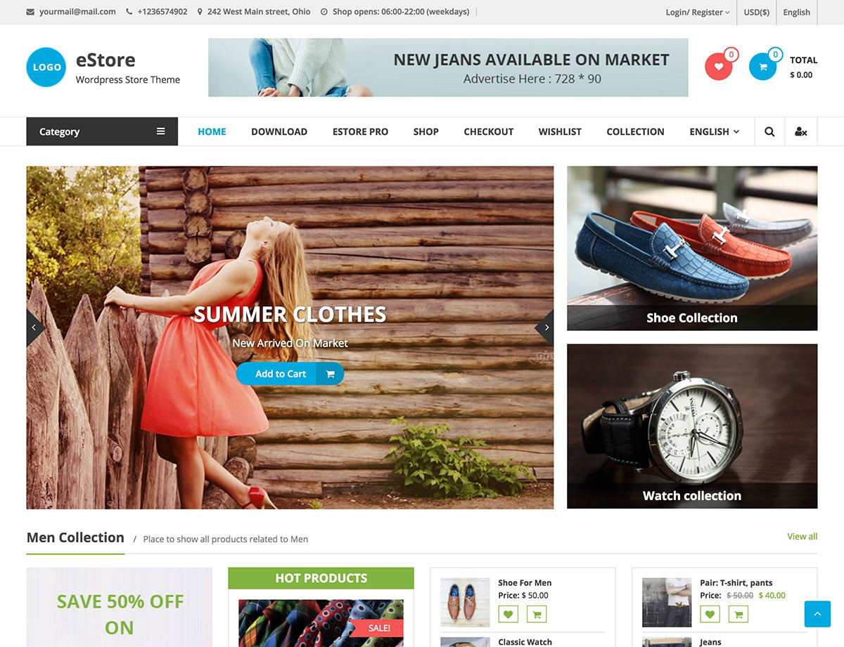 Estore - 51+ Awesome Free WordPress Themes For Ecommerce [year]