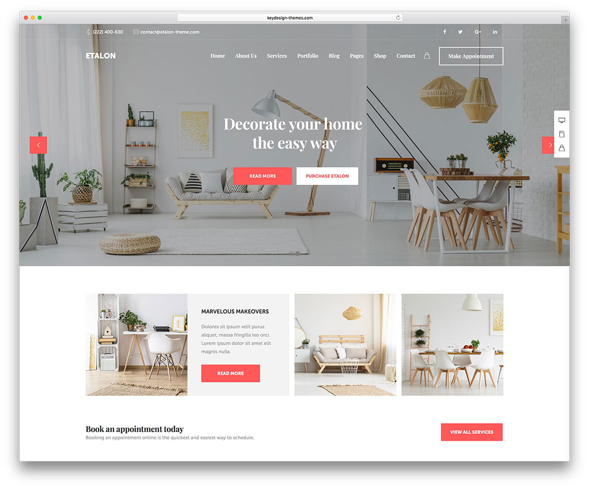 Etalon - 36+ Top Quality WordPress Themes For Interior Design [year]