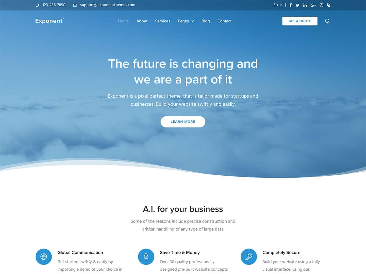 Exponent-3 - 60+ Nice WordPress Themes For Business [year]