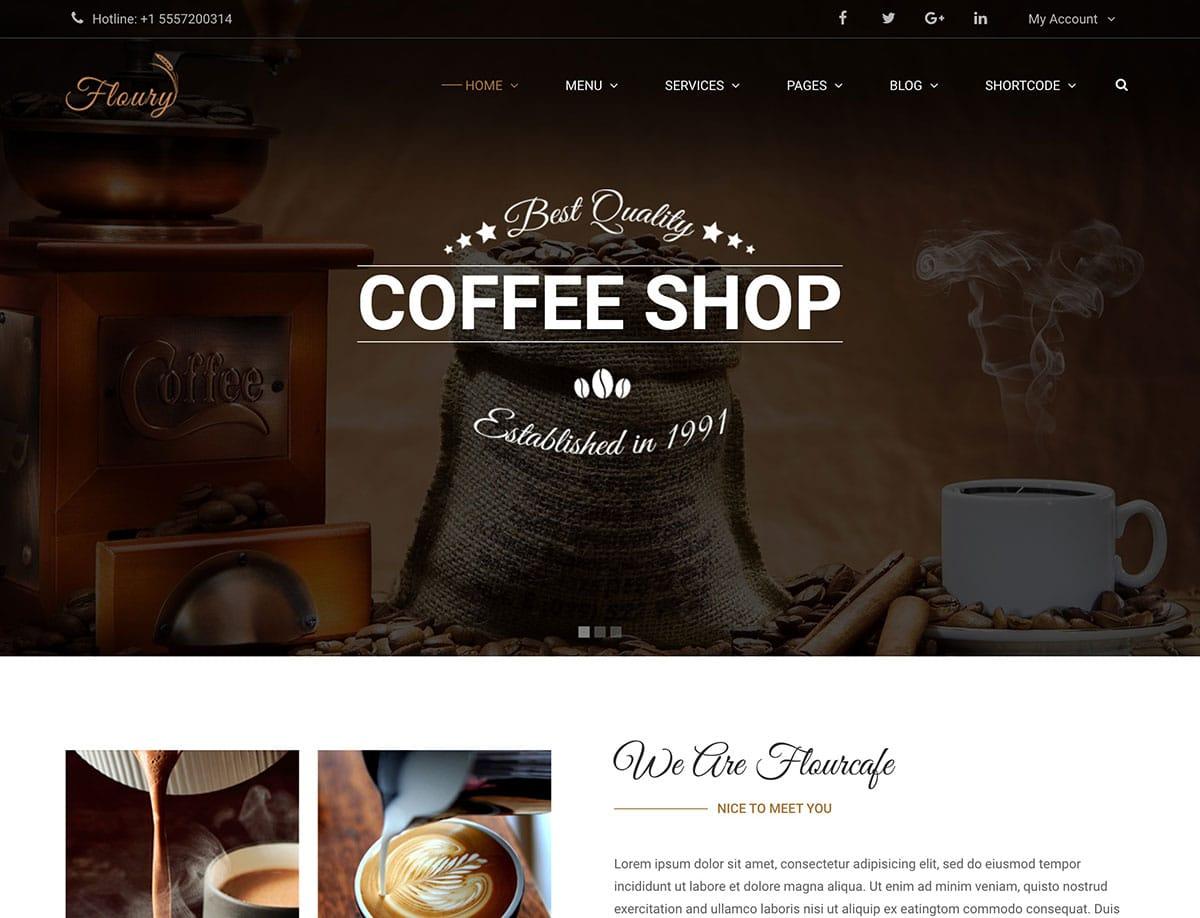 Floury-Coffee-Shop-WordPress-Theme - 36+ Top Quality WordPress Themes For Coffee Shop [year]