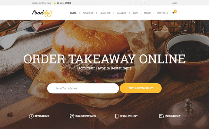 Food-Ordering-Delivery - 31+ Nice Food & Drink E-commerce WordPress Themes [year]