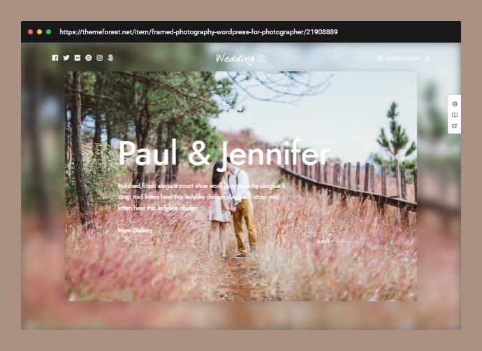 Framed - 31+ Awesome Wedding Photography Service WordPress Themes [year]