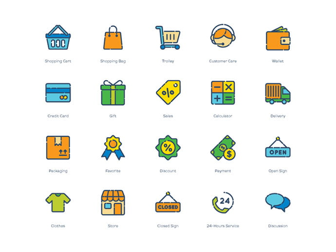Free-Shopping-Icons - 35+ Awesome Free E-Commerce Icon Sets [year]