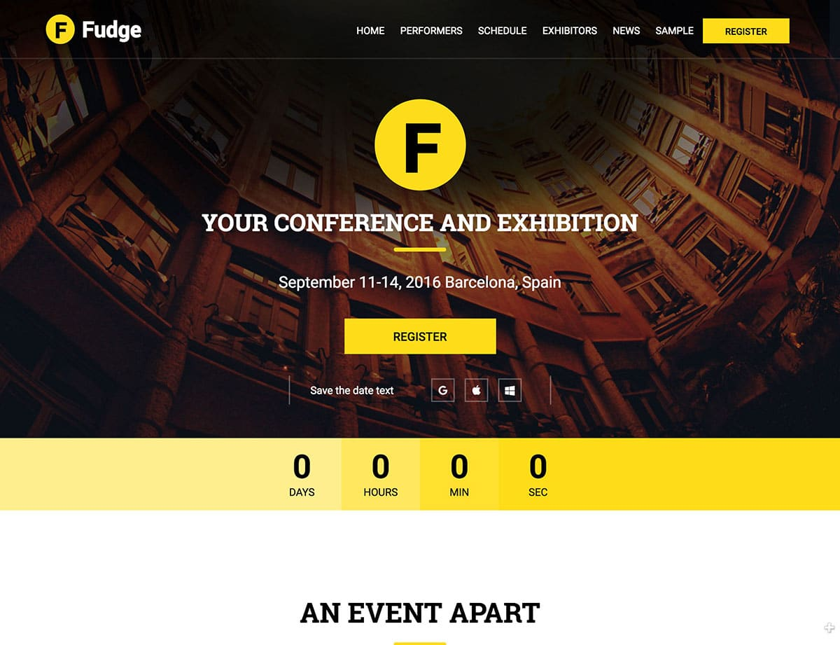Fudge-2.0 - 40+ Amazing WordPress Themes For Events [year]