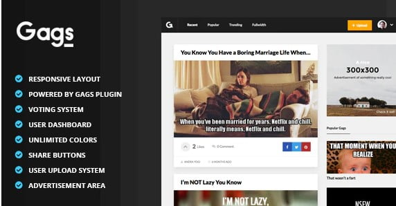 Gags - 36+ Awesome WordPress Content Sharing Themes [year]