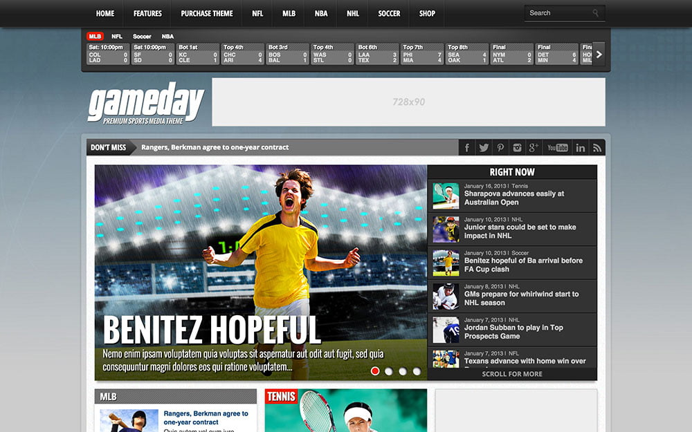 Gameday - 31+ Nice WordPress Themes For Sports [year]