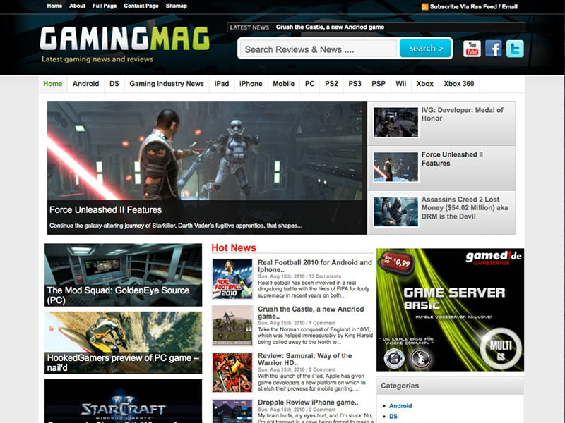 GamingMag-1 - 36+ Top Quality WordPress Gaming Themes [year]