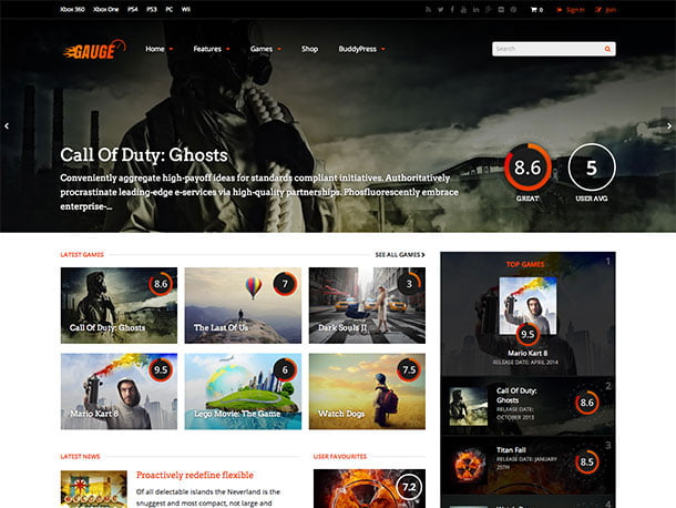 Gauge-1 - 36+ Top Quality WordPress Gaming Themes [year]