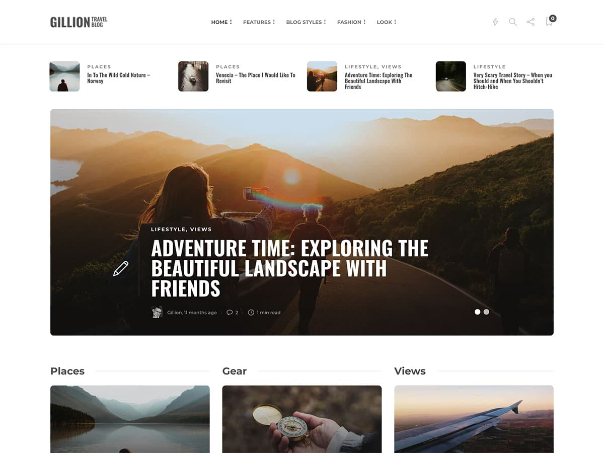 Gillion - 30+ Awesome Travel Blog WordPress Themes [year]