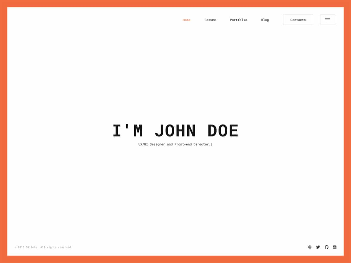 Glitche - 31+ Nice WordPress Themes For Resume [year]