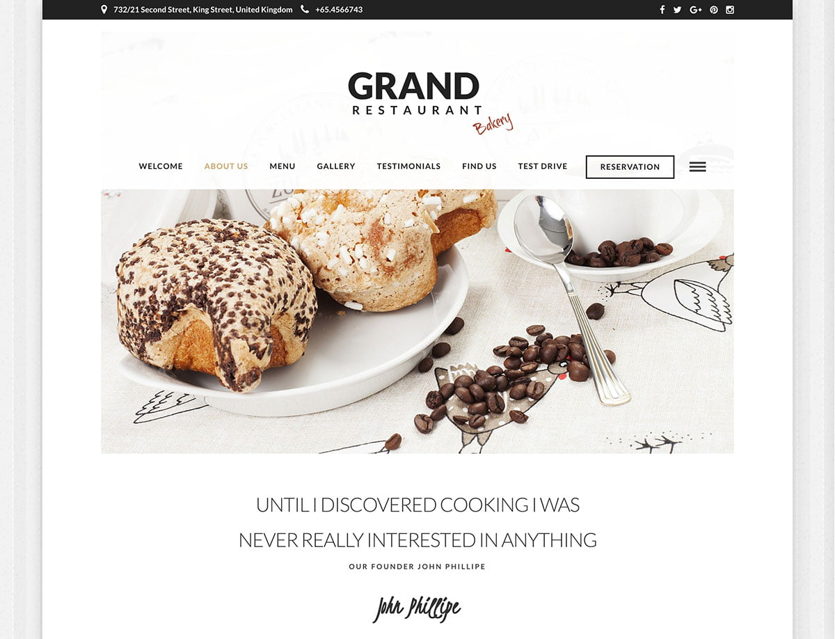 Grand-Restaurant - 36+ Top Quality WordPress Themes For Coffee Shop [year]