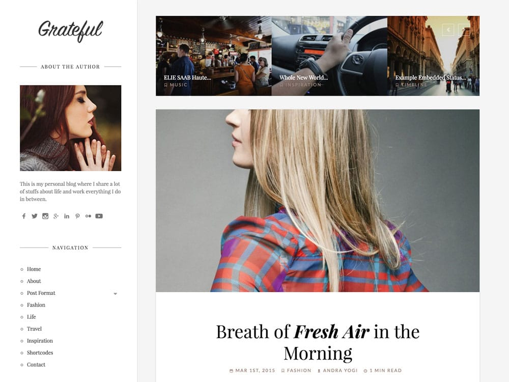 Grateful - 36+ Nice WordPress Themes For Fashion Blog [year]
