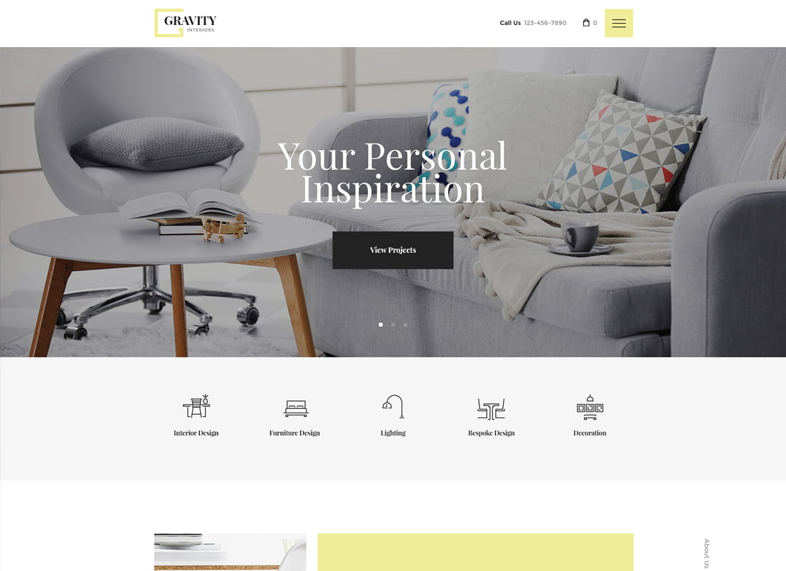 Gravity - 36+ Top Quality WordPress Themes For Interior Design [year]