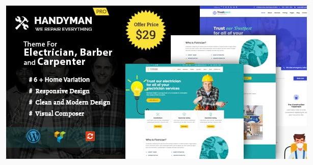Handyman - 36+ Amazing Electricians WordPress Themes [year]