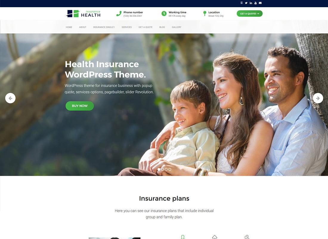 Health-Insurance - 36+ Amazing WordPress Insurance Themes [year]