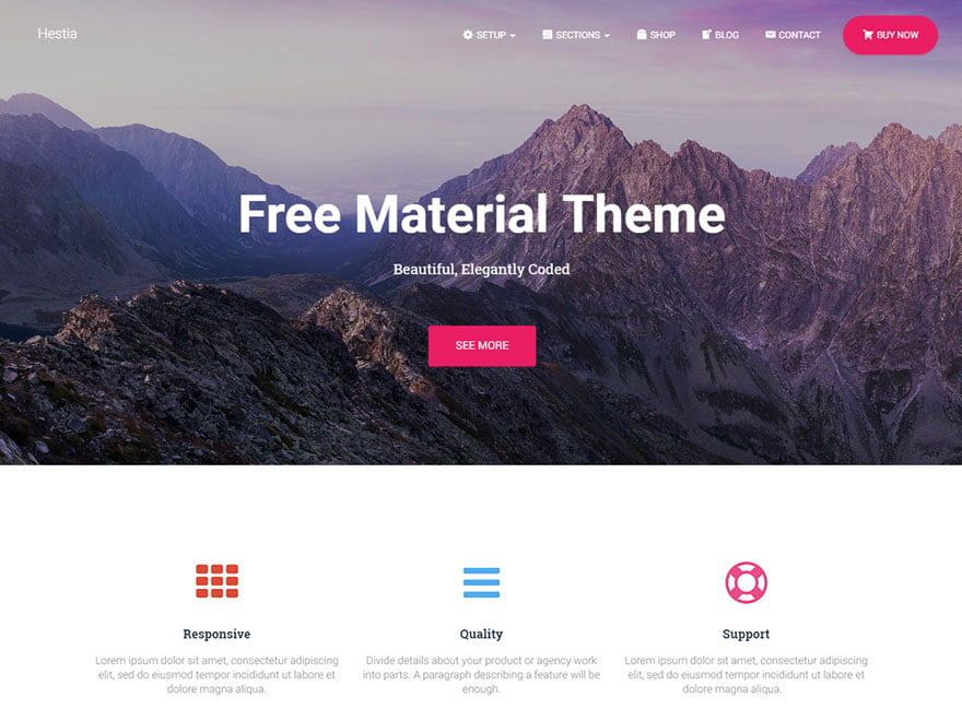 Hestia - 46+ Best Free WordPress One Page Themes [year]