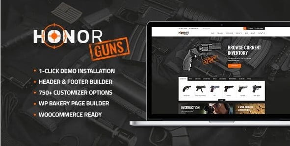 Honor-1 - 35+ Nice Hunting and Weapon For WordPress Themes [year]