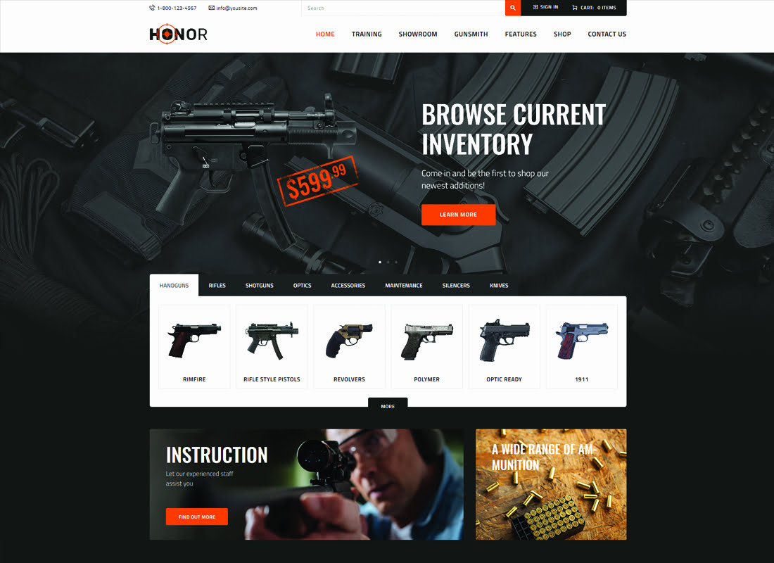 Honor - 35+ Nice Hunting and Weapon For WordPress Themes [year]