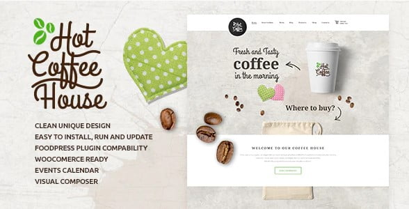 Hot-Coffee - 36+ Top Quality WordPress Themes For Coffee Shop [year]