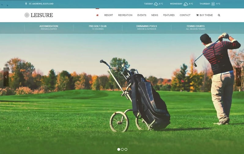 Hotel-Leisure - 36+ Nice WordPress Golf Themes For Golf Clubs Websites [year]