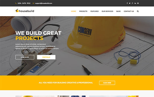 Housebuild - 36+ Top Quality WordPress Themes For Construction Company [year]