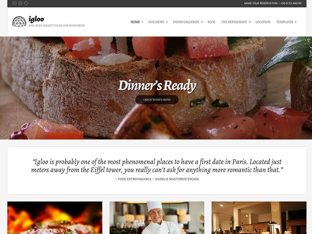 Igloo - 50+ Nice WordPress Themes For Restaurant [year]