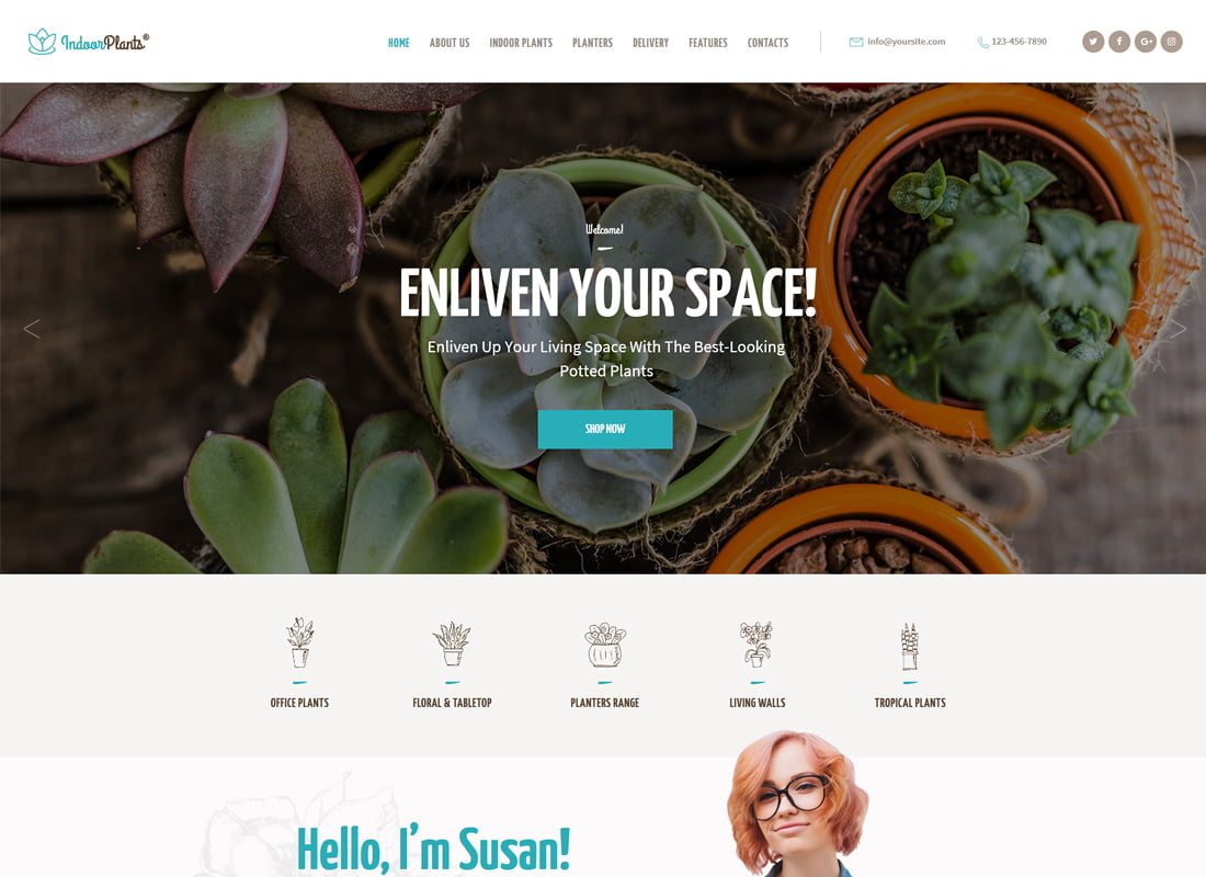 Indoor-Plants - 36+ Top Quality WordPress Themes For Interior Design [year]