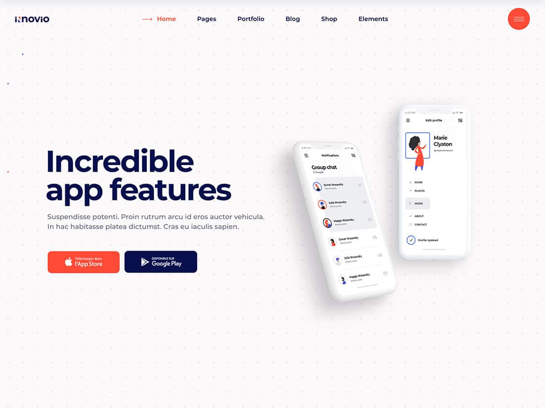 Innovio - 40+ Amazing WordPress App Showcase Themes [year]