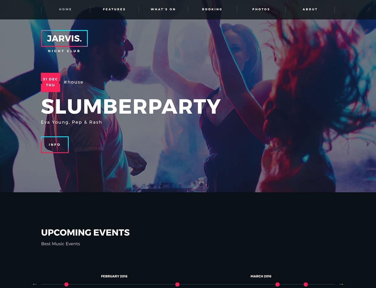 Jarvis - 35+ Nice WordPress Themes For Nightclub [year]
