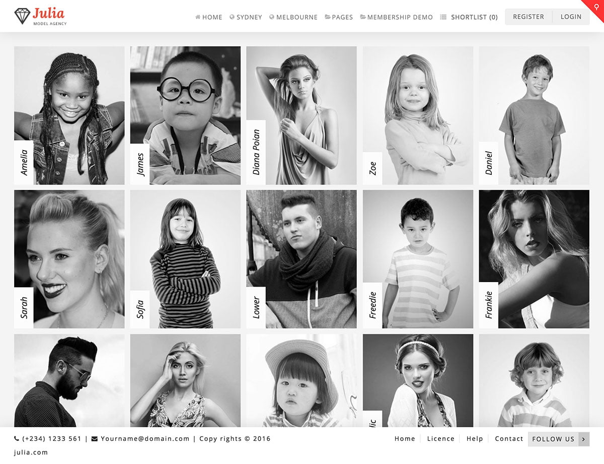 Julia - 36+ Nice WordPress Model Agency Themes [year]