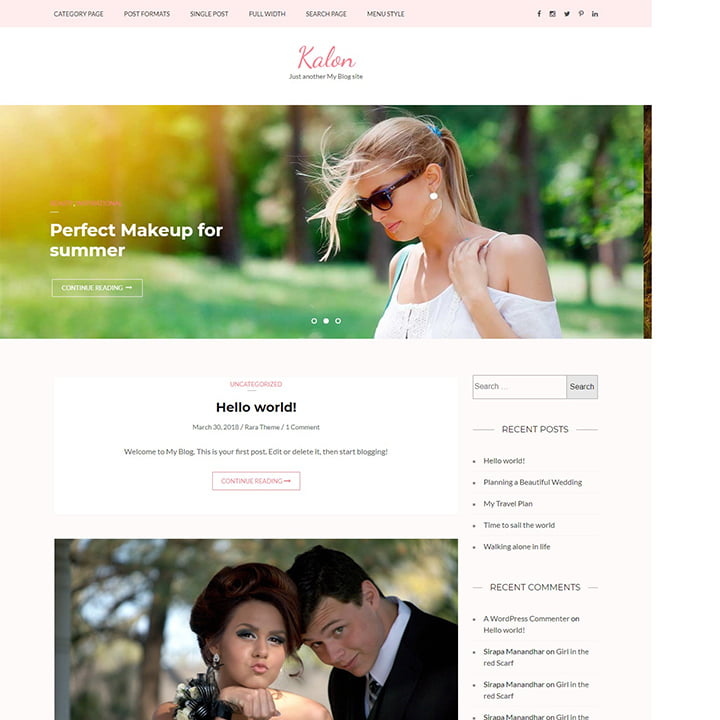 Kalon - 36+ Elegant Free WordPress Wedding Themes [year]