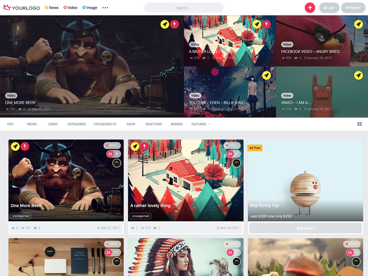 King-1 - 36+ Awesome WordPress Content Sharing Themes [year]