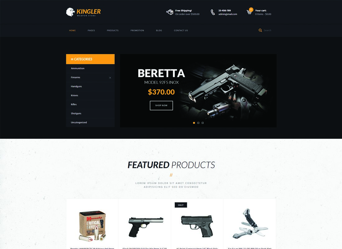 Kingler - 35+ Nice Hunting and Weapon For WordPress Themes [year]