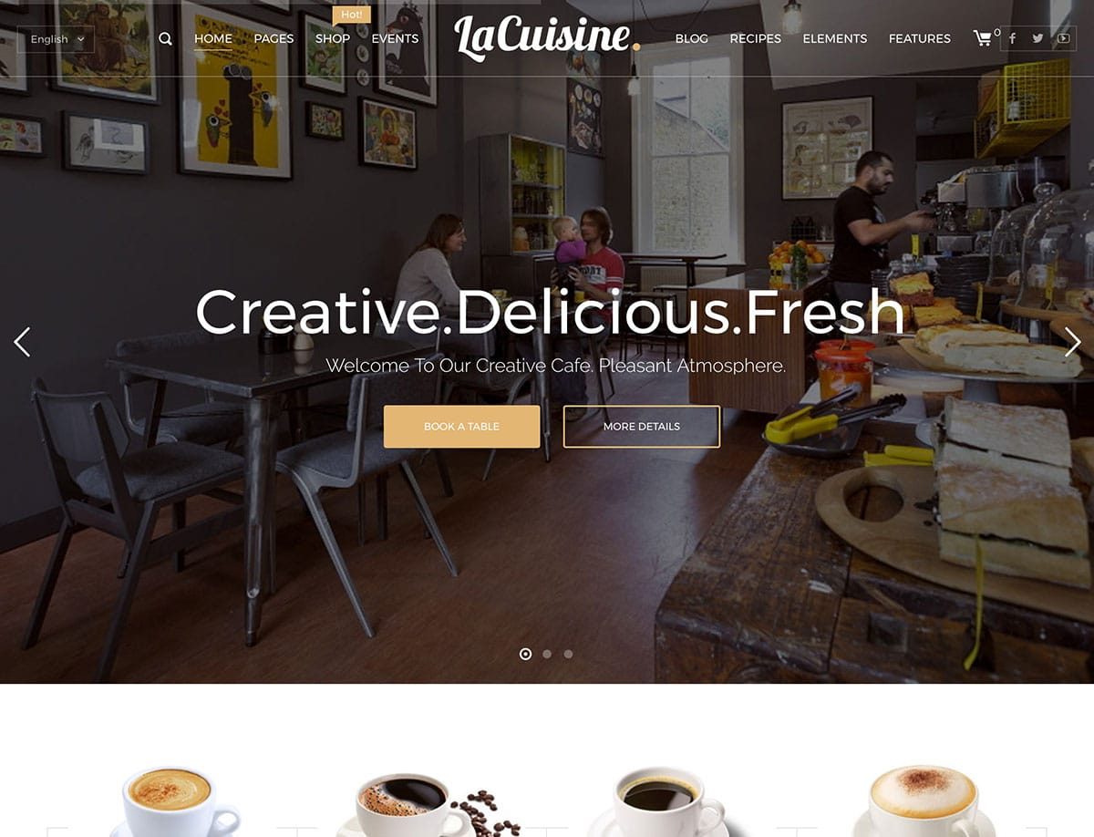 LaCuisine - 36+ Top Quality WordPress Themes For Coffee Shop [year]