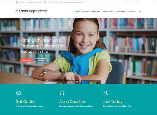 Language-School - 36+ Awesome WordPress Themes e-Learning [year]