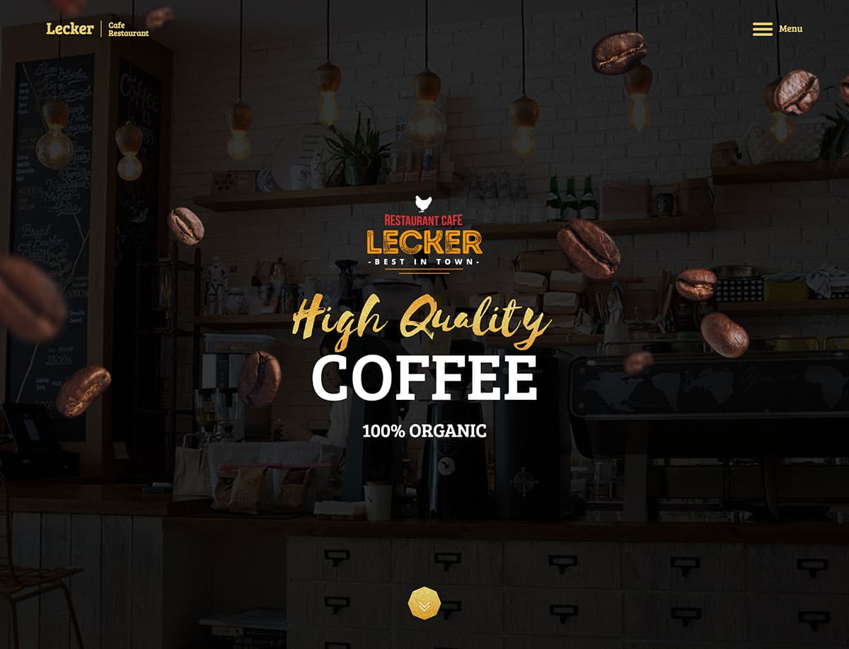 Lecker - 36+ Top Quality WordPress Themes For Coffee Shop [year]