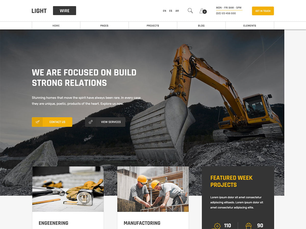 Lightwire - 36+ Top Quality WordPress Themes For Construction Company [year]