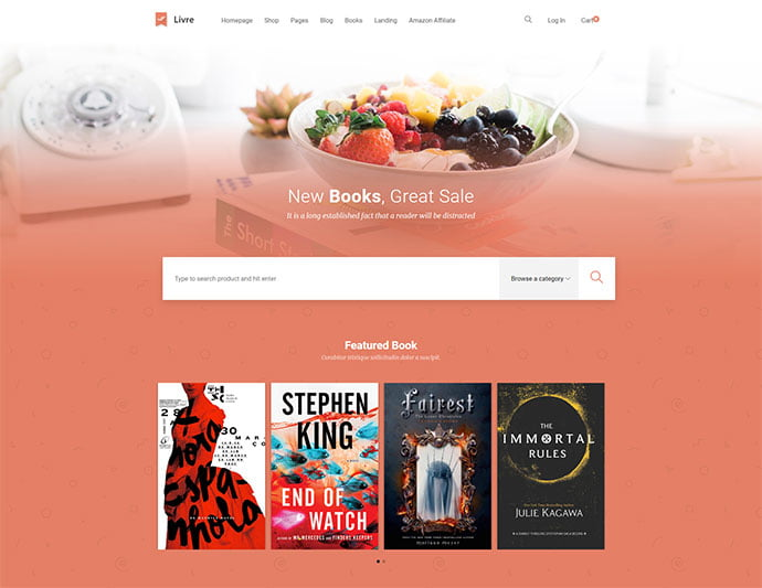Livre - 31+ Nice Librarian & Bookseller WordPress Themes [year]