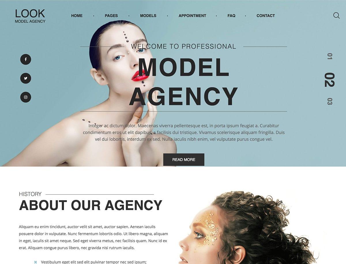 Look-1 - 36+ Nice WordPress Model Agency Themes [year]