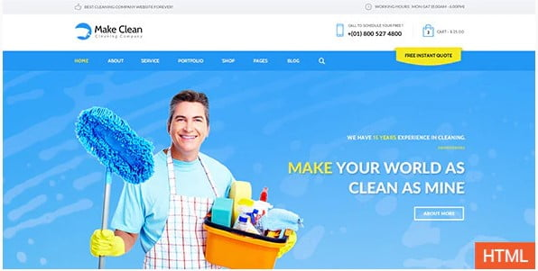 Make-Clean - 36+ Amazing Electricians WordPress Themes [year]