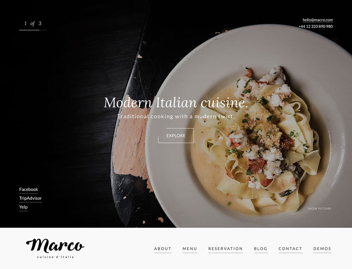 Marco - 50+ Nice WordPress Themes For Restaurant [year]