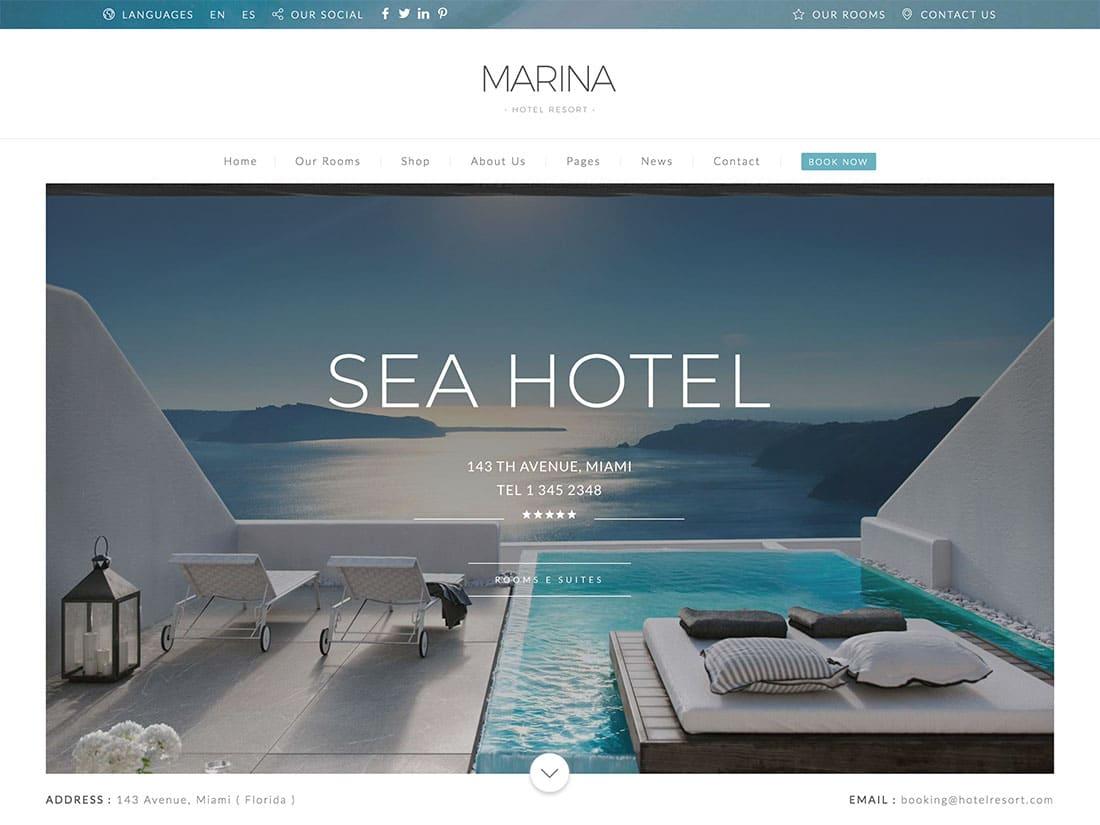 Marina - 36+ Amazing Travel, Agencies, Hotels WordPress Themes [year]