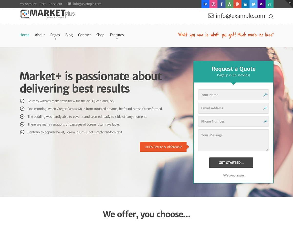 Marketplus - 36+ Awesome WordPress Marketing Themes [year]