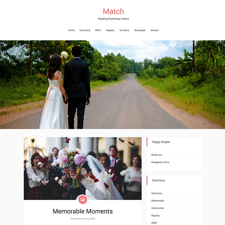 Match-1 - 36+ Elegant Free WordPress Wedding Themes [year]