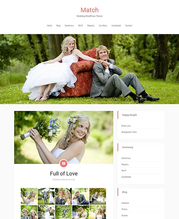 Match - 36+ Elegant Free WordPress Wedding Themes [year]