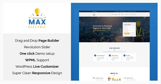 Max-Electric - 36+ Amazing Electricians WordPress Themes [year]