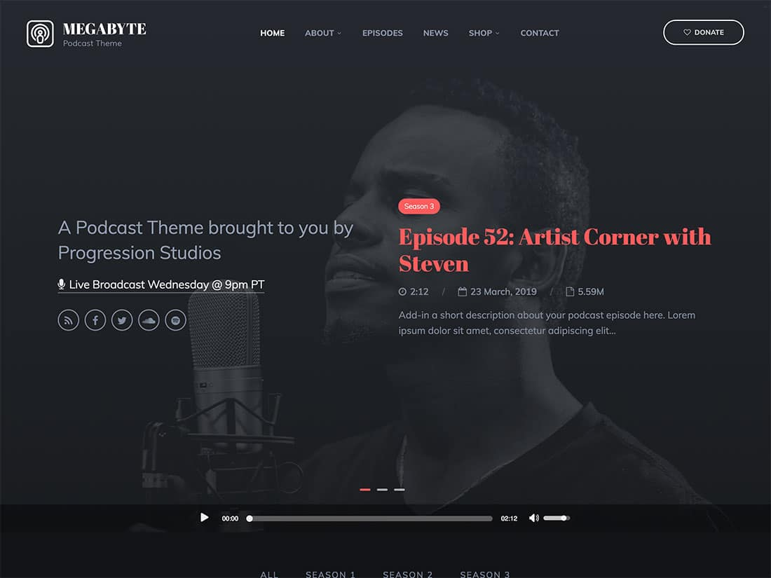Megabyte - 36+ Awesome WordPress Themes For Podcast [year]