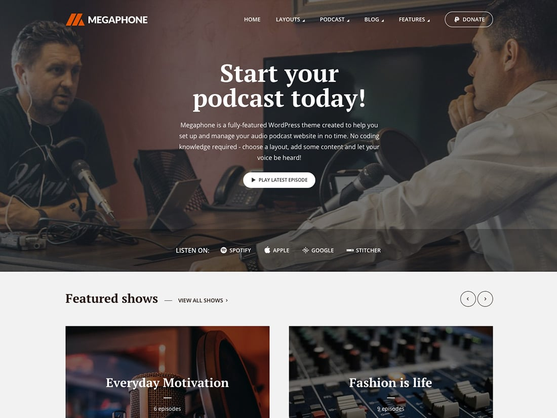 Megaphone - 36+ Awesome WordPress Themes For Podcast [year]